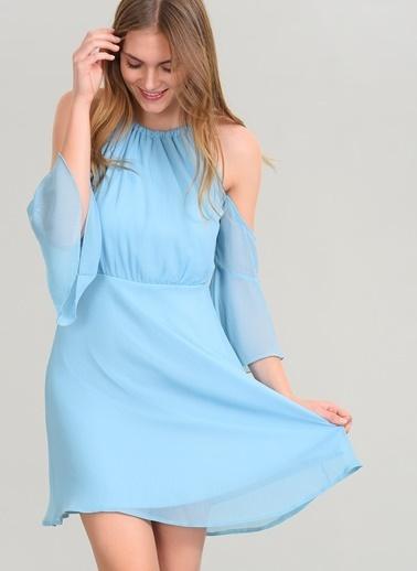 Agenda Volanlı Elbise Mavi